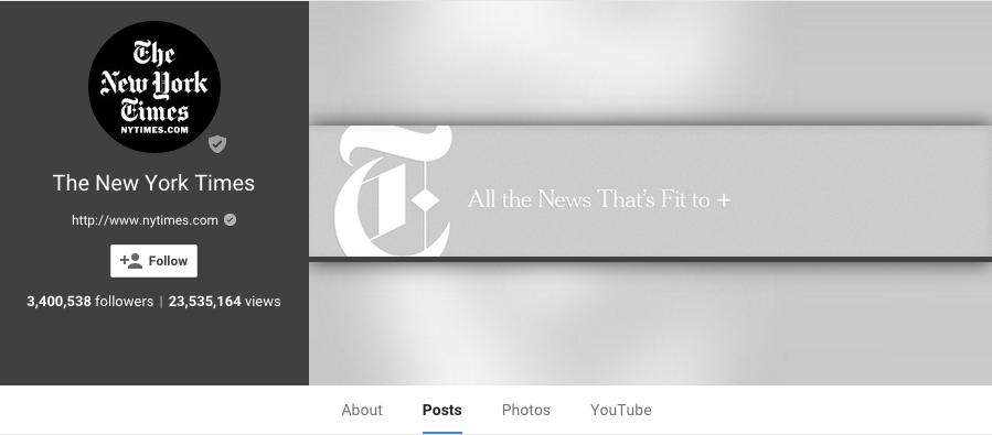 New York Times Google +