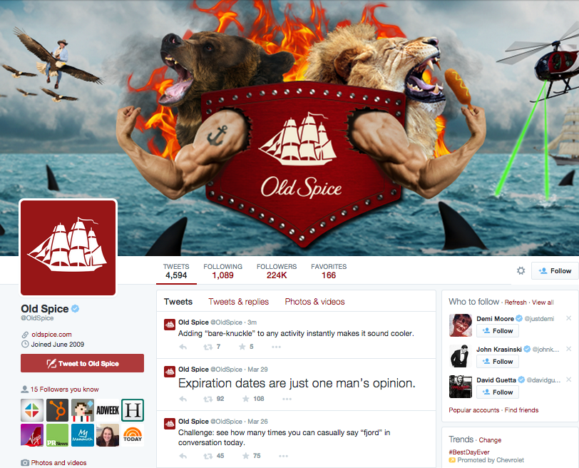 Old Spice Twitter page