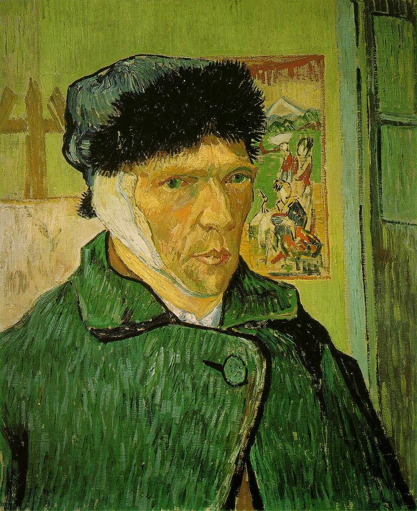 Self-portrait with Bandaged Ear, Easel and Japanese Print by Vincent Van Gogh