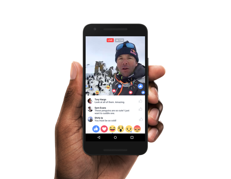Facebook live video reactions