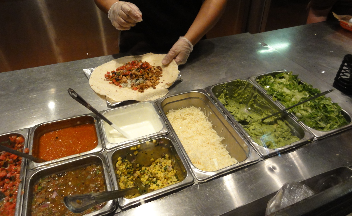 Burrito assembly at Chipotle