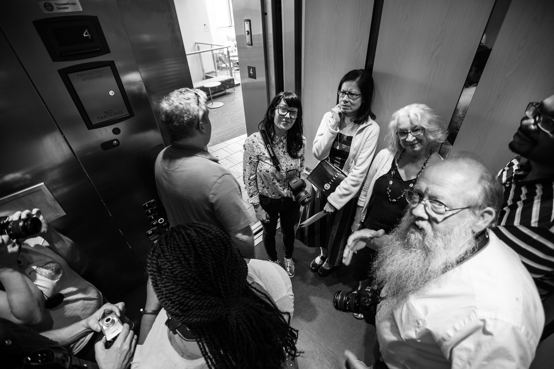 A crowded elevator