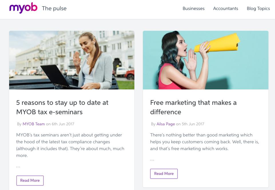 MYOB educational content marketing