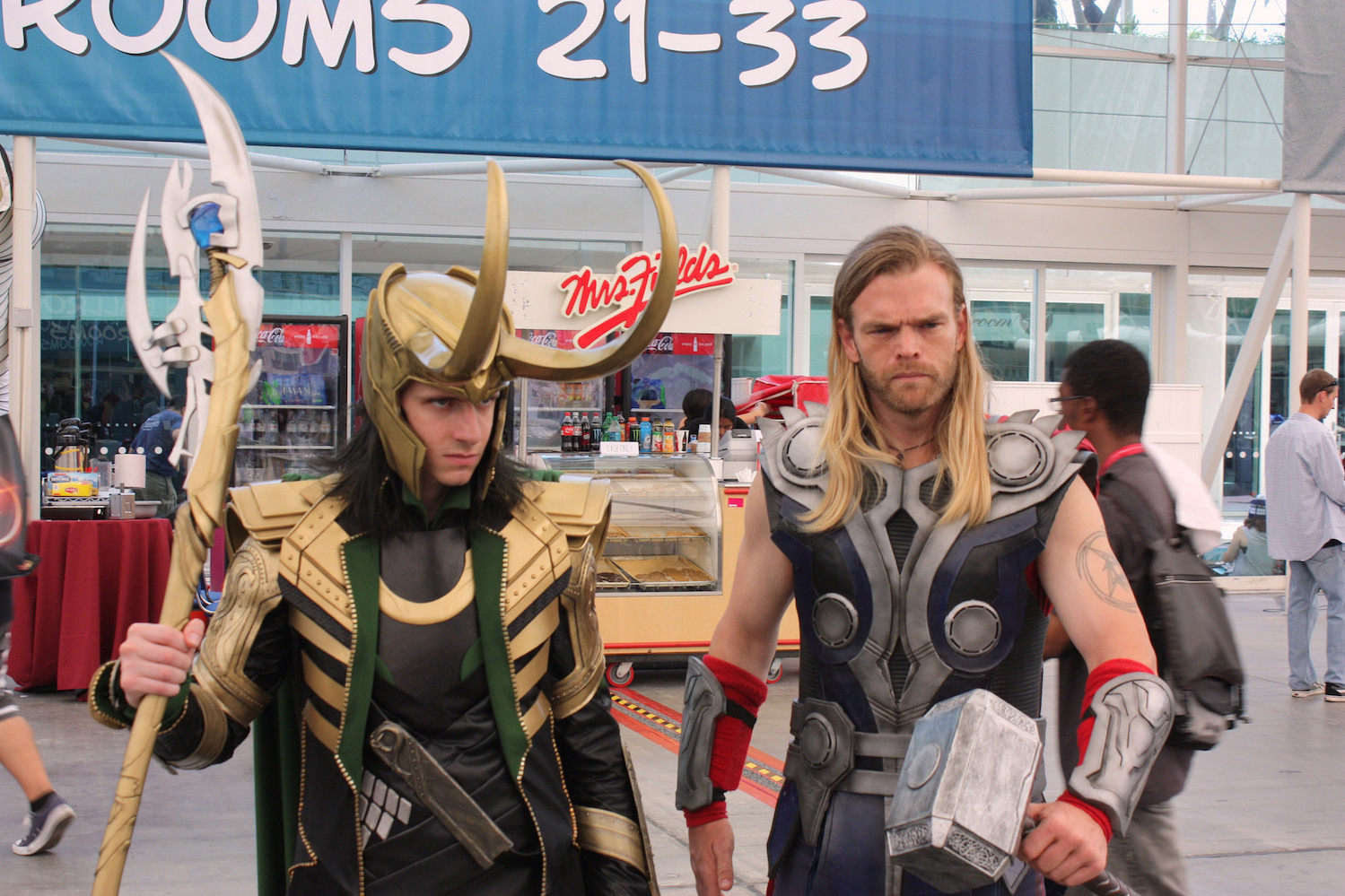 Thor and Loki cosplayers