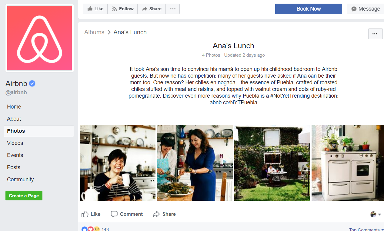 Image of AirBnB's facebook page