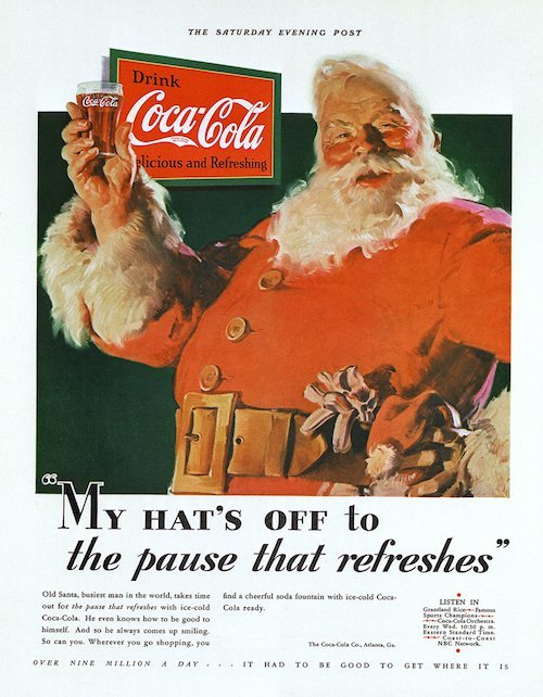 Santa as depicted in Coca-Cola's holiday marketing