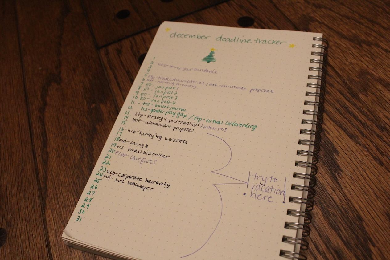 bullet journal erin ollila experiment deadline tracker