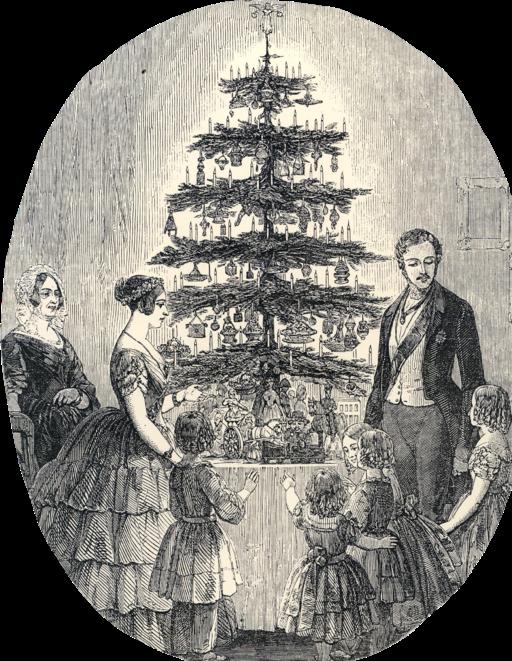 Victorian-era image of a family around a Christmas tree