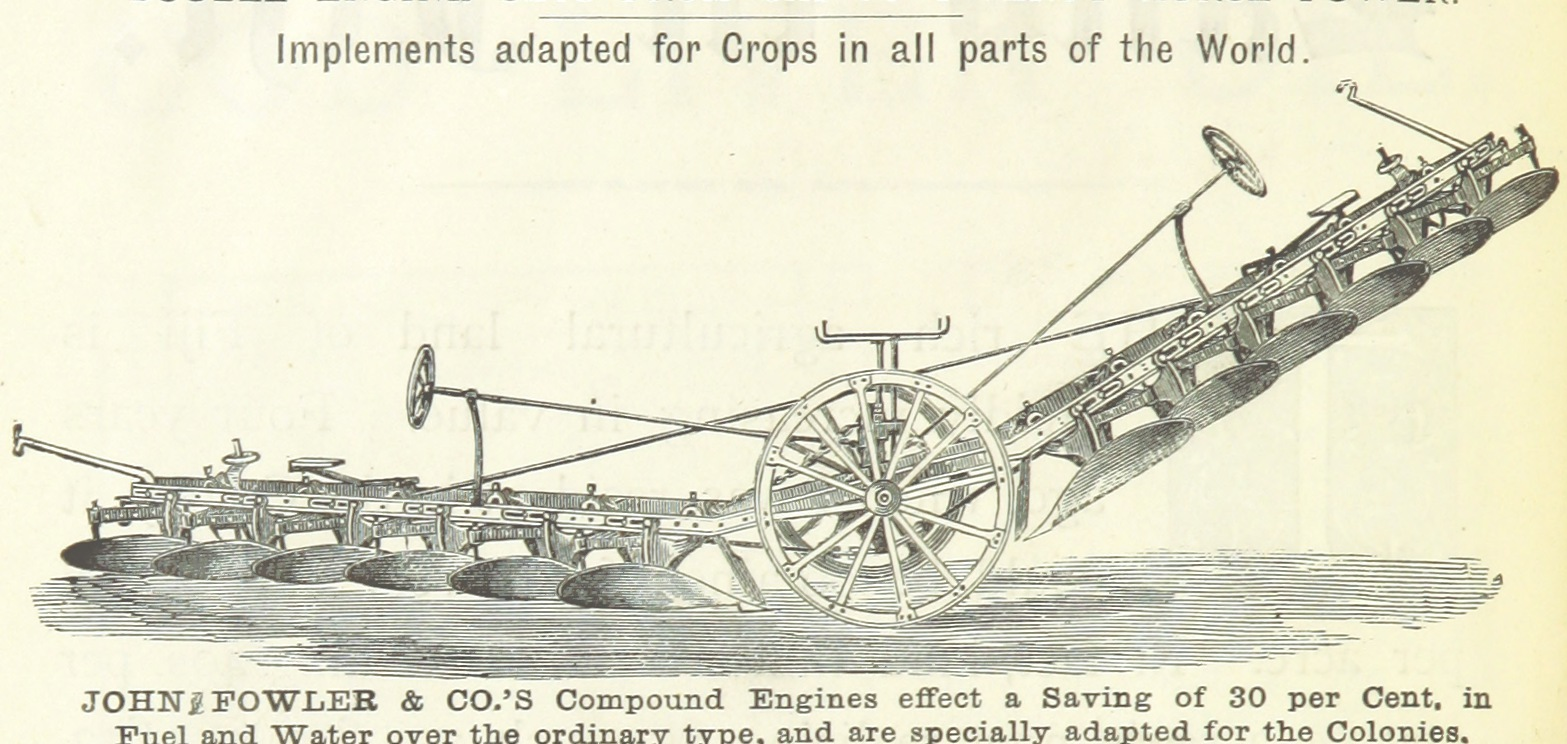 drawing of agricultural machinery from 1800s
