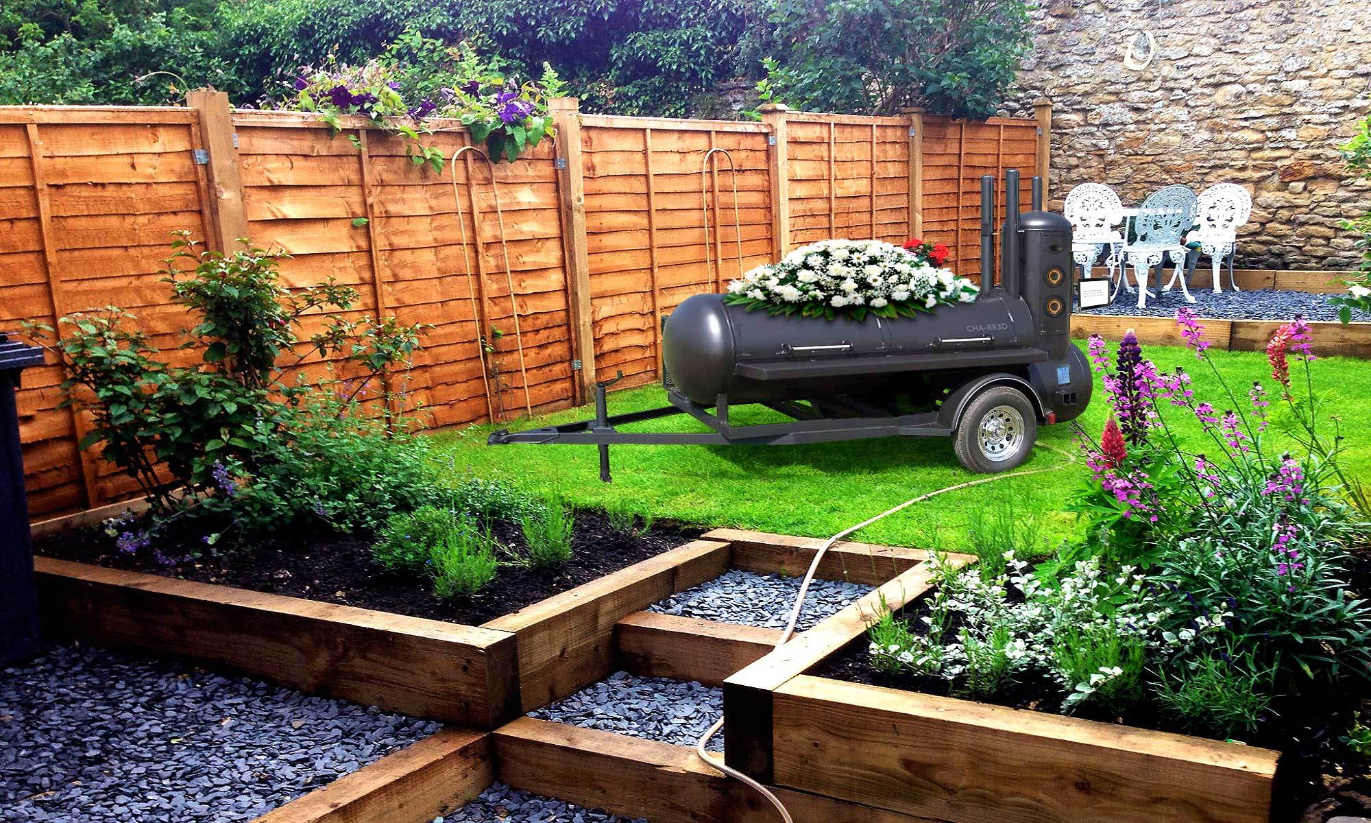 Cremation equipment in a house garden