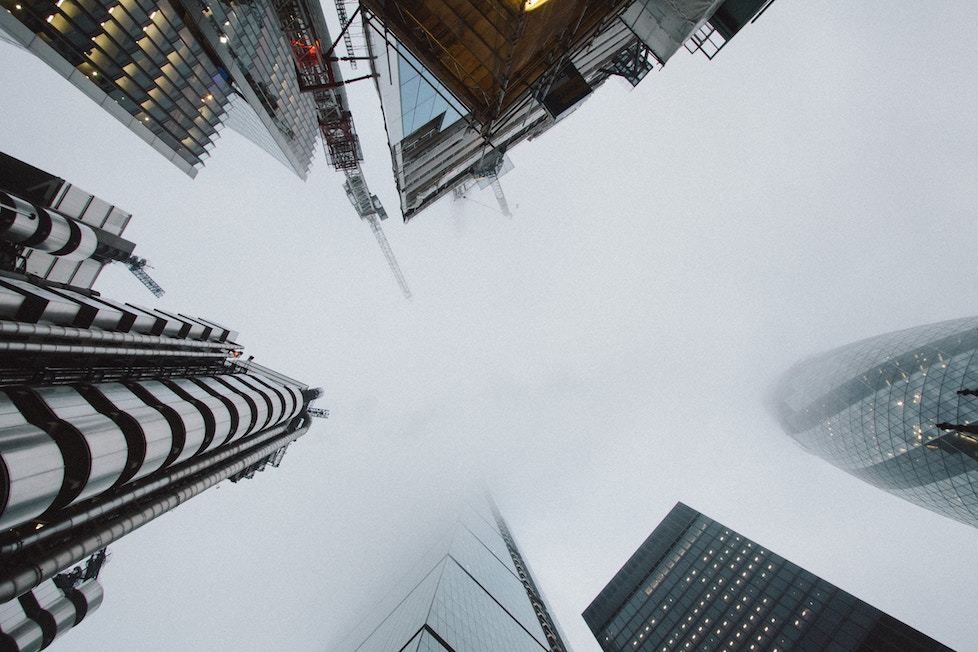 London's financial district in fog from below