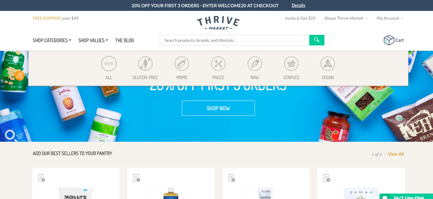 Thrive Market Homepage