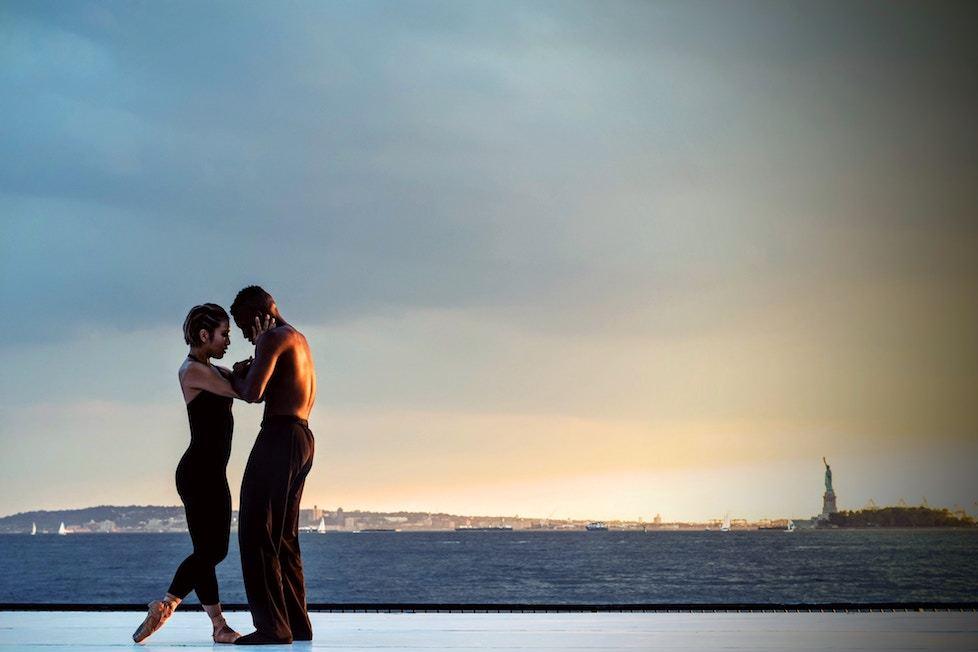 Couple dancing in New York Bay