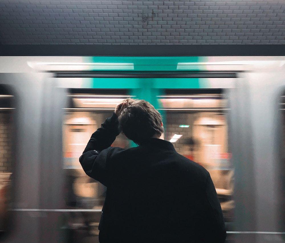 Person preparing to board public transportation
