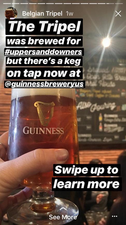 Guinness digital storytelling on Instagram