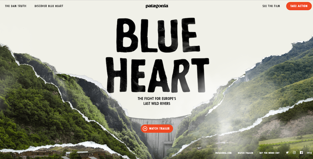 Image of the Blue Heart film homepage