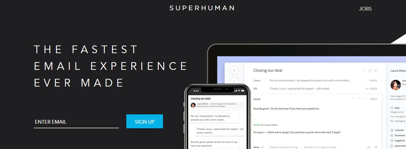screenshot from Superhuman.com