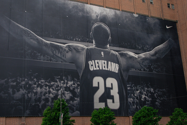 LeBron James banner in Cleveland