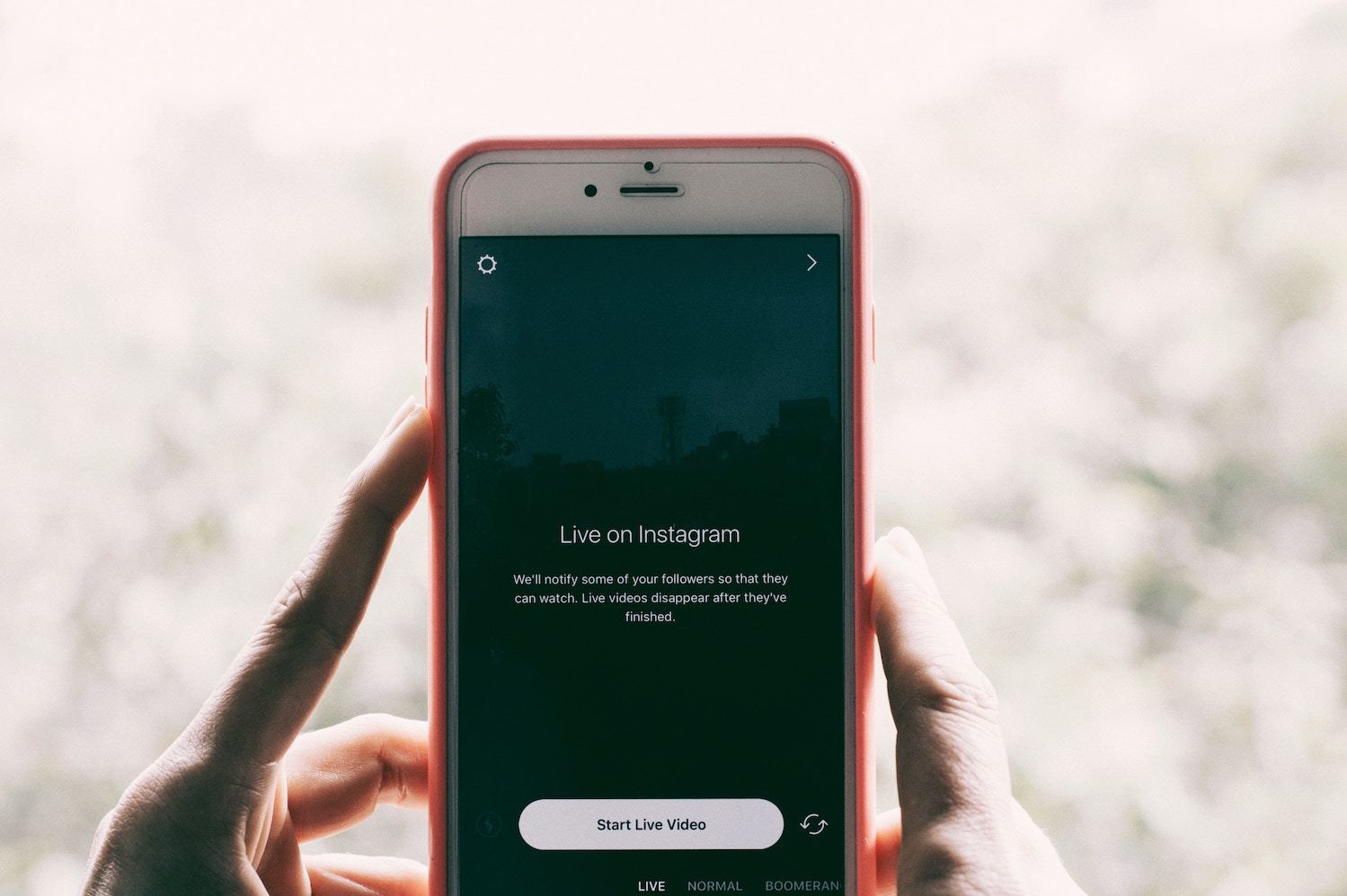 a smartphone with instagram live