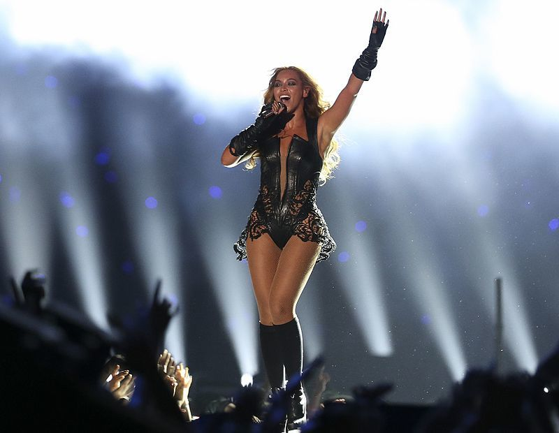 Beyonce performing at Superbowl Half Time Show