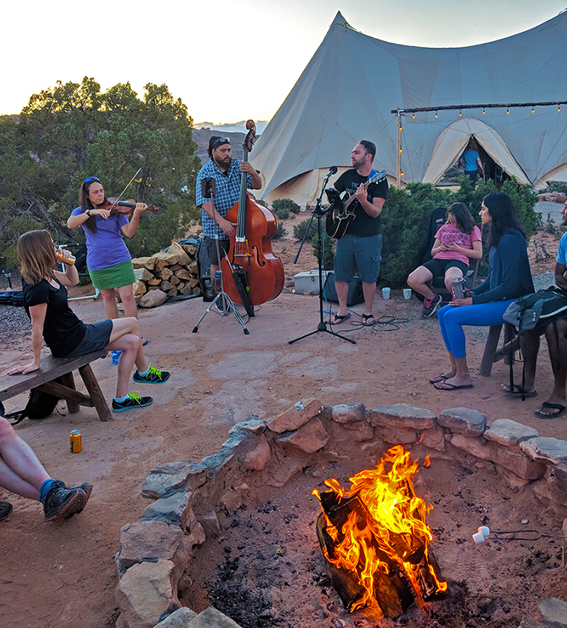 Campfire at Under Canvas Moab