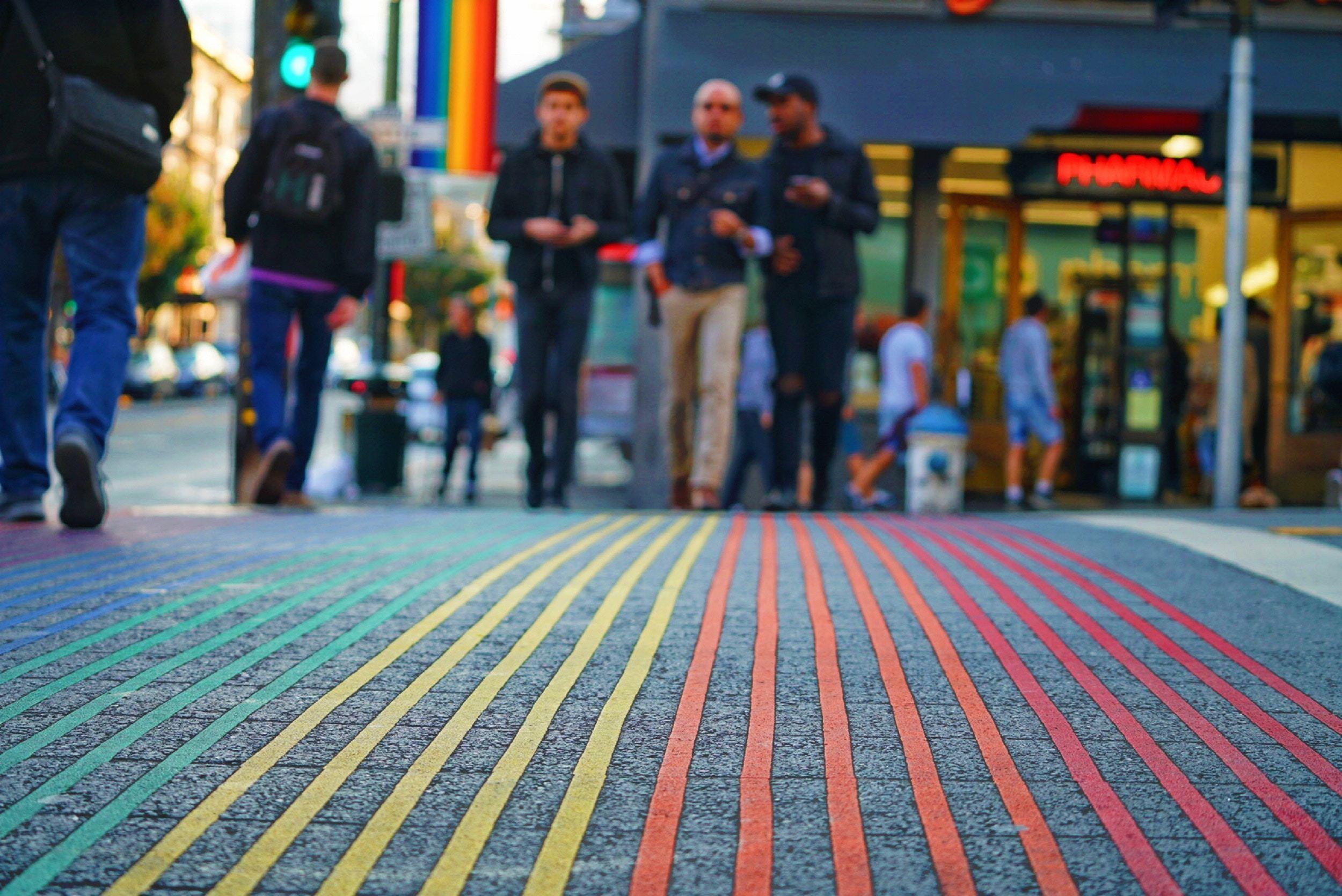 rainbow striped city road