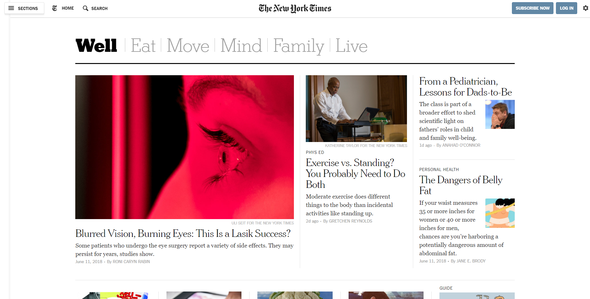 Screenshot of the New York Times Well Section