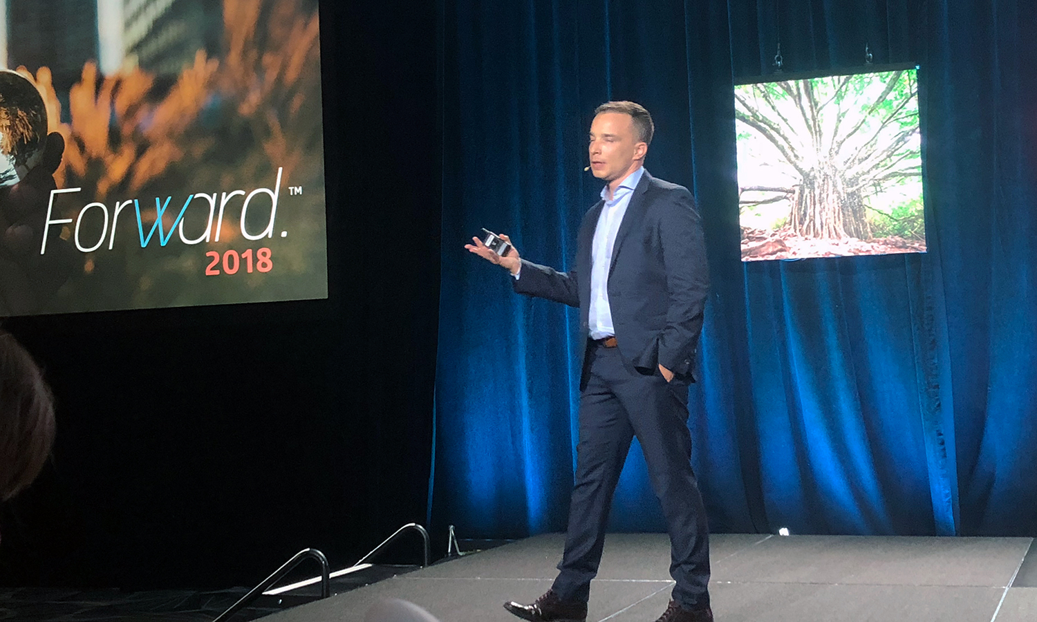 Tom Gerace delivers the opening keynote at Forward 2018