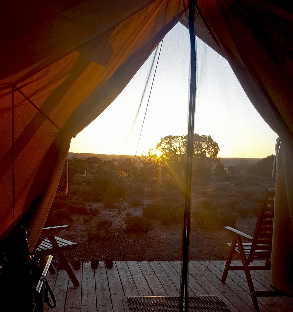 Under Canvas Moab sunrise