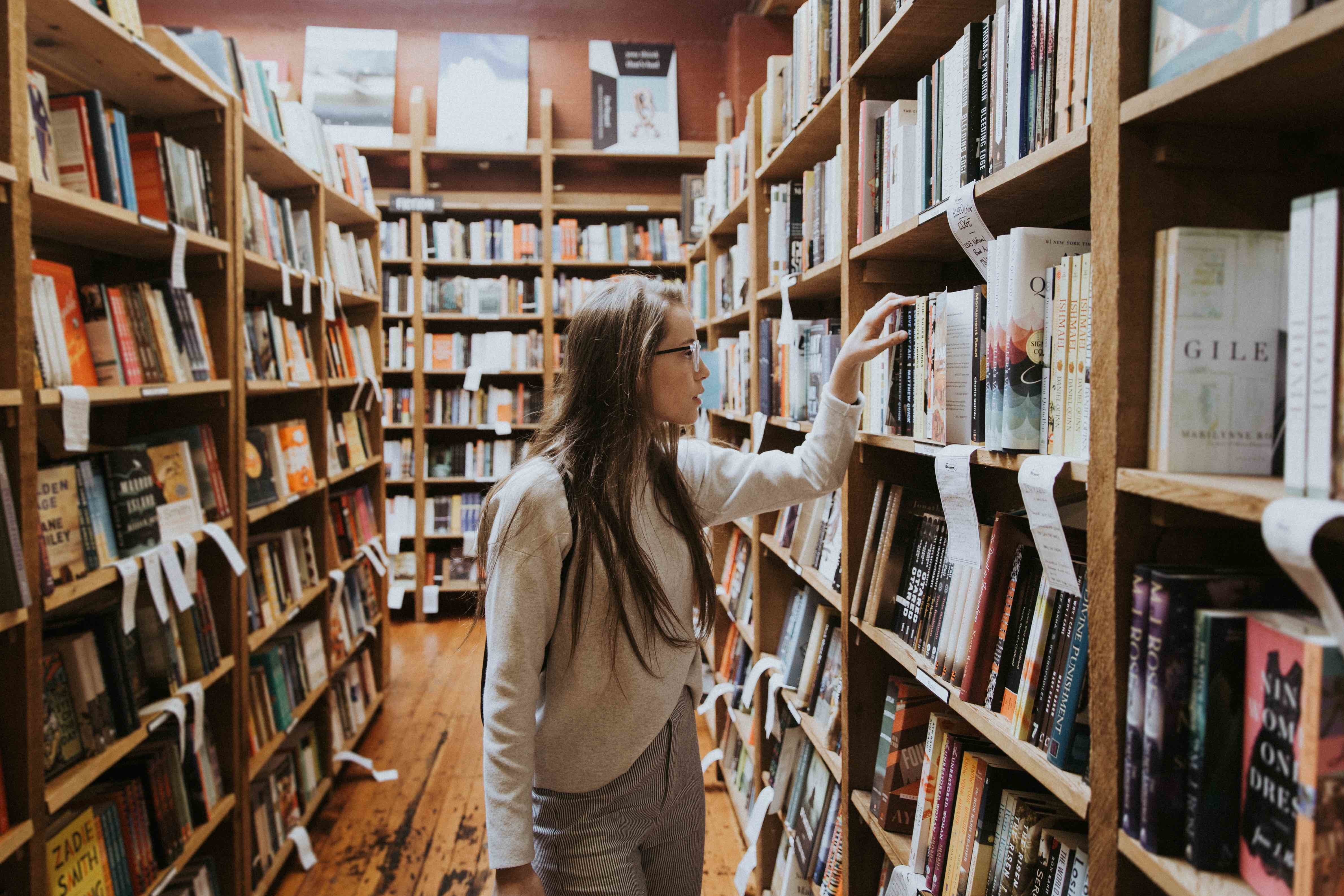 browsing library shelves