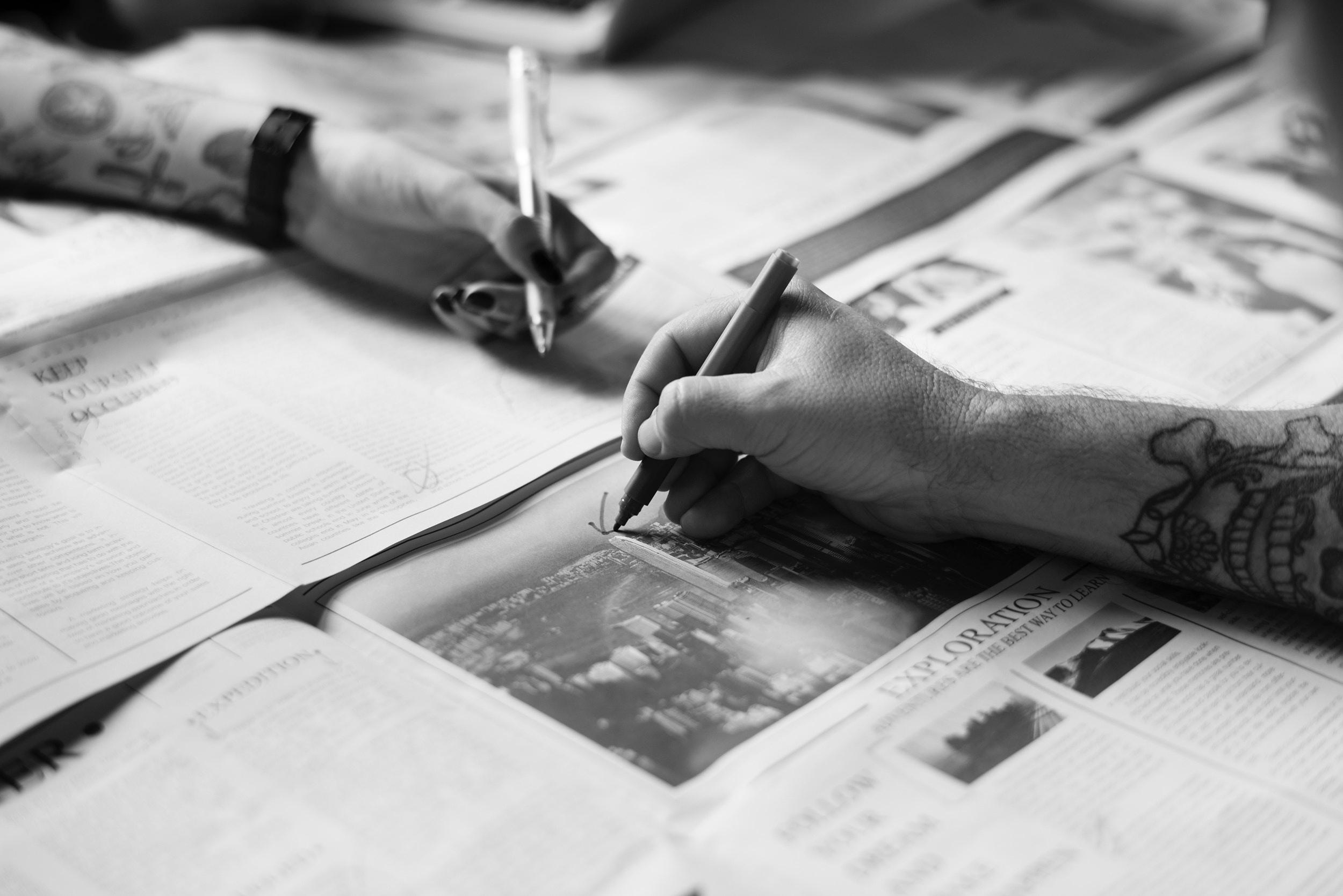 writing in newspaper