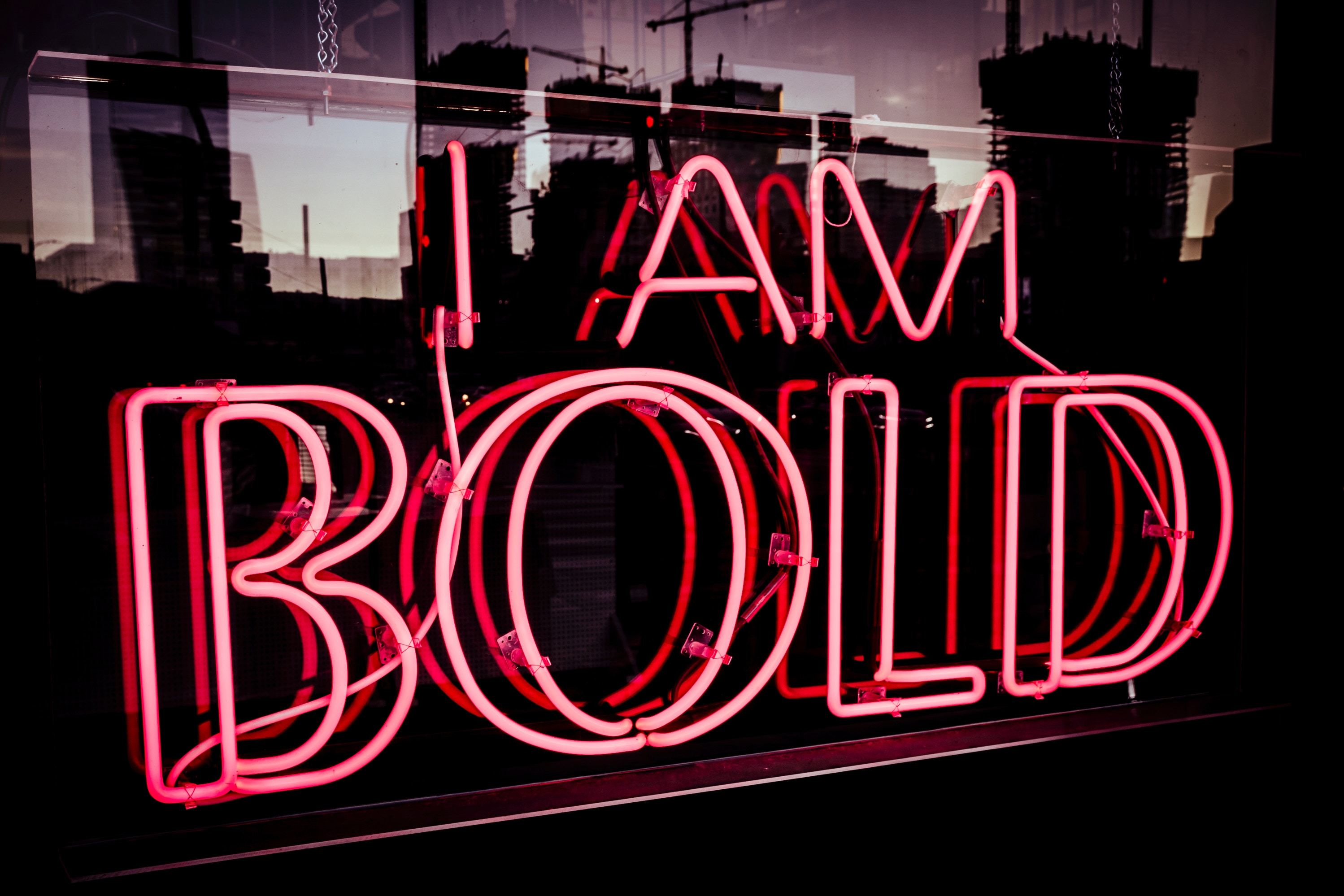 Neon sign with wording