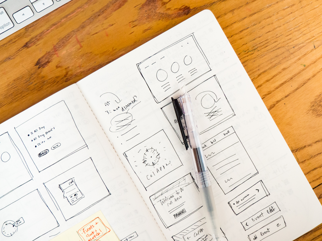 A notebook with wireframes