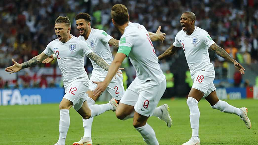 The English soccer team celebrates a goal