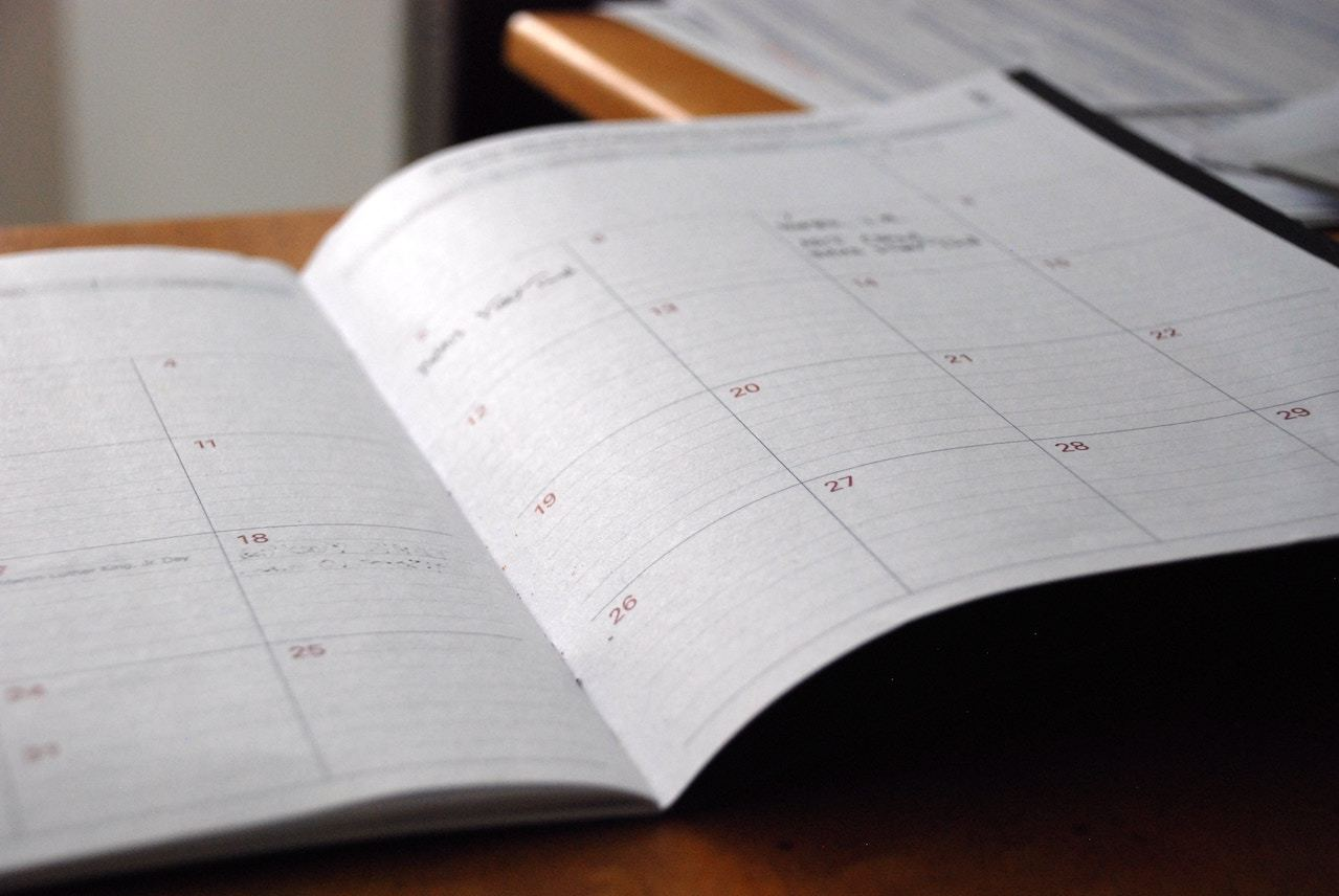ideation management editorial calendar open to a page