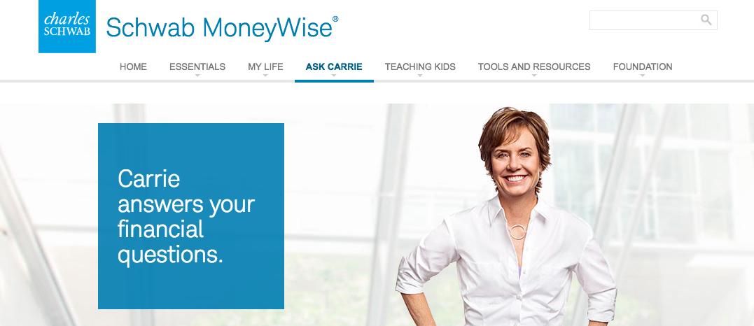Screen capture from Schwab MoneyWise website.