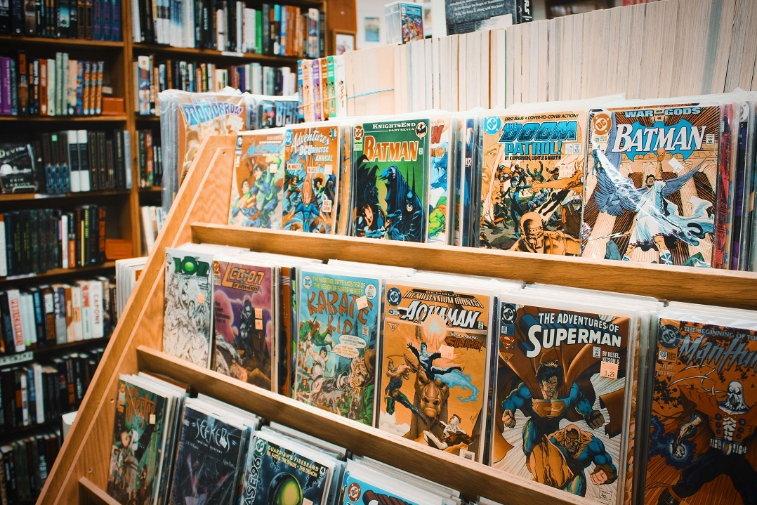 A bookstore shelf with comic books