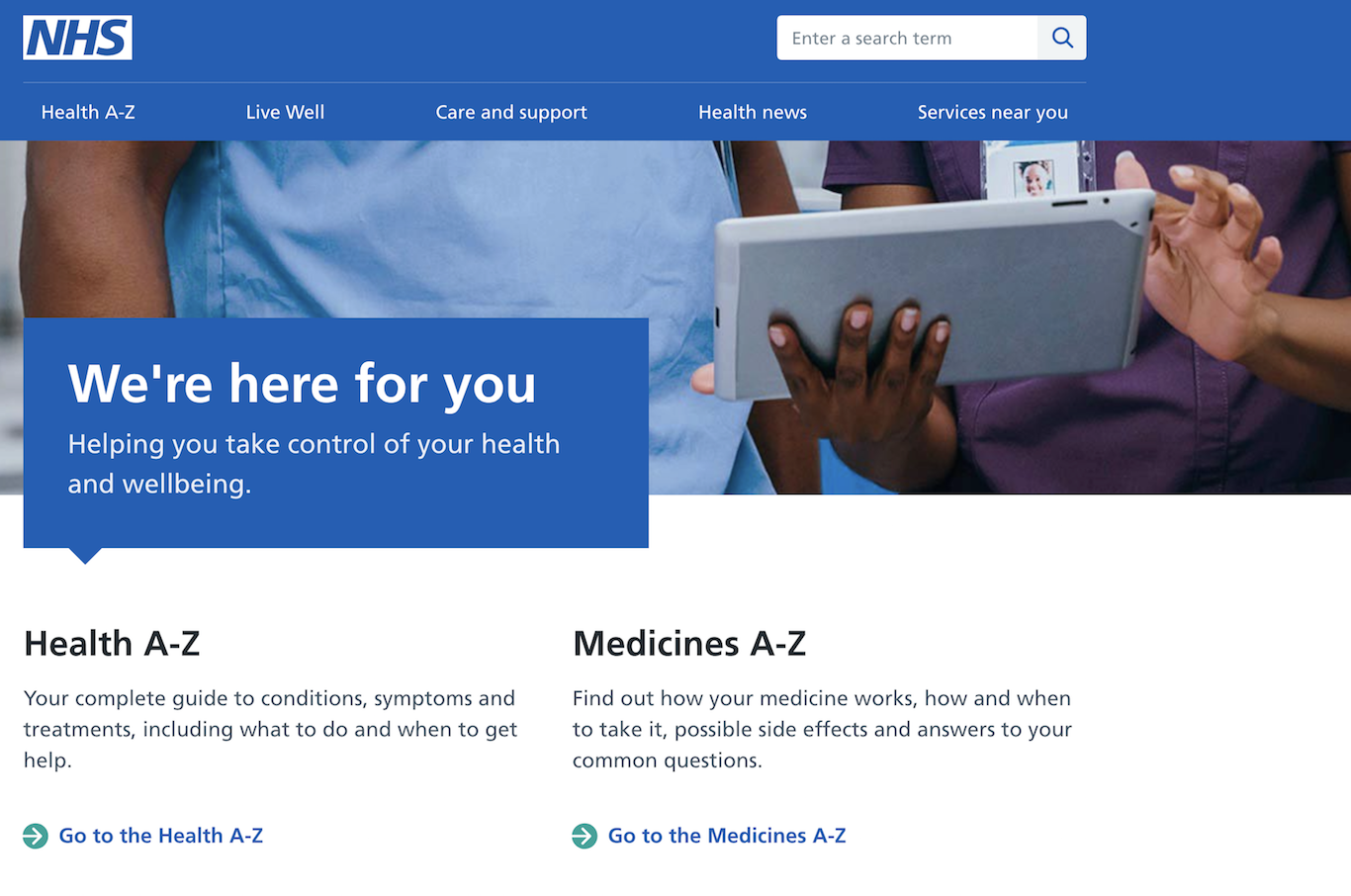 Home page of nhs.uk