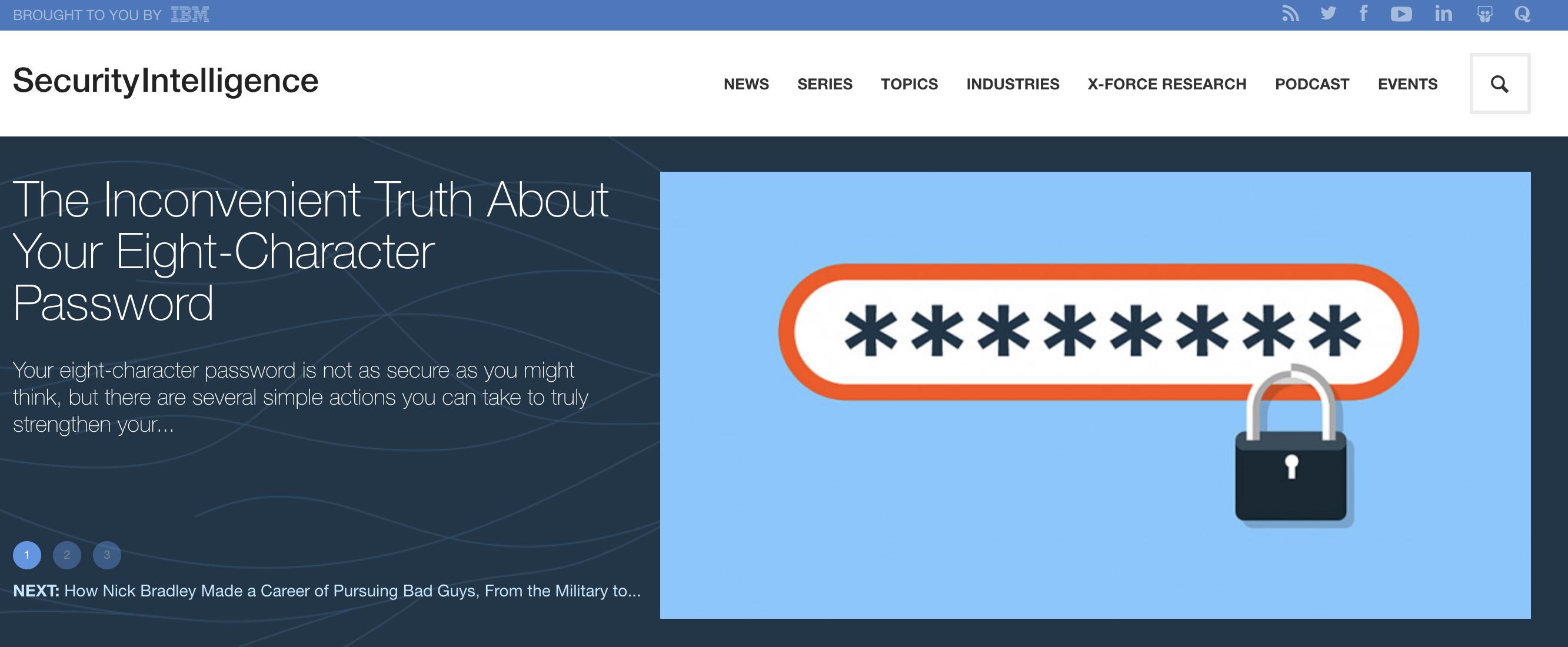 Home page screenshot of SecurityIntelligence.com