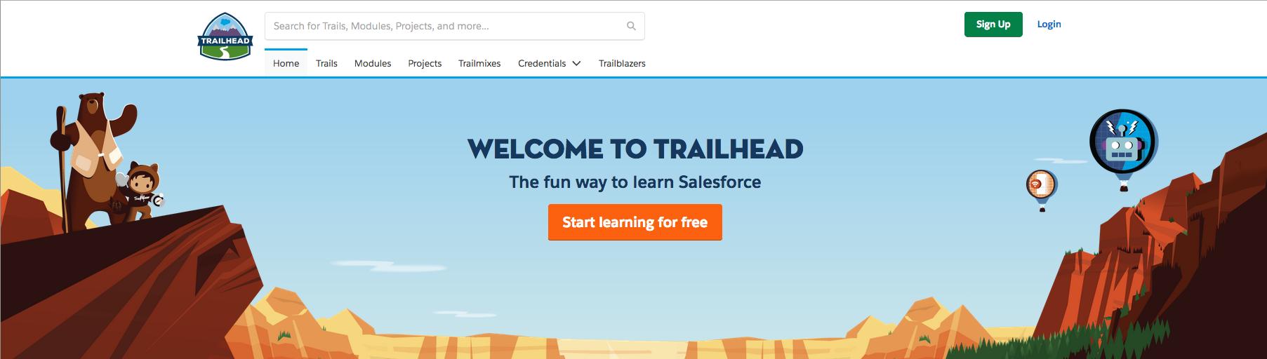 Salesforce Trailhead homepage