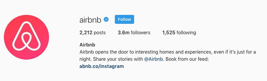 airbnb instagram CTA
