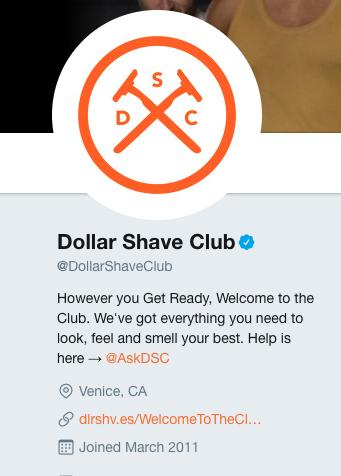 dollar shave club twitter bio