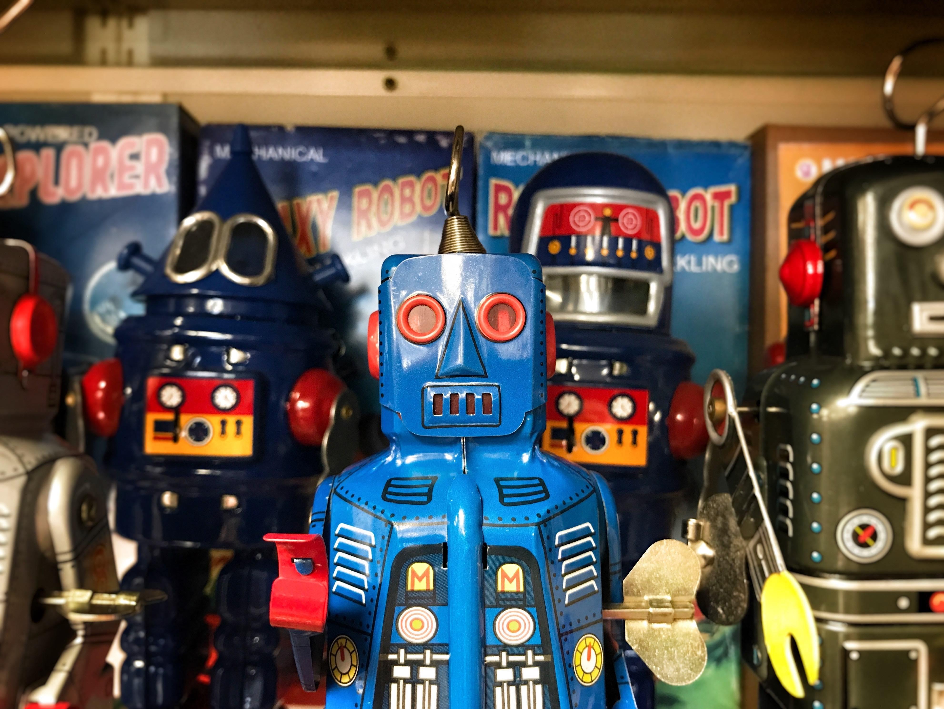 robots on a shelf