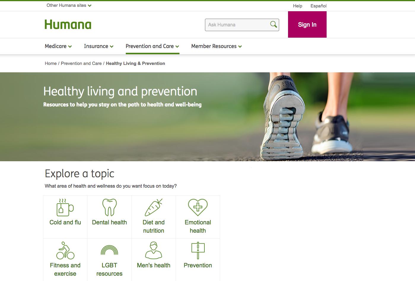 Screenshot of Humana blog