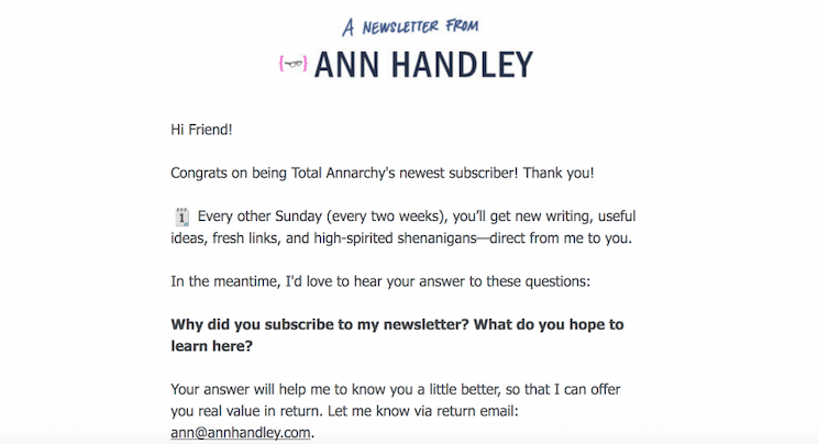 Newsletter signup thank you email