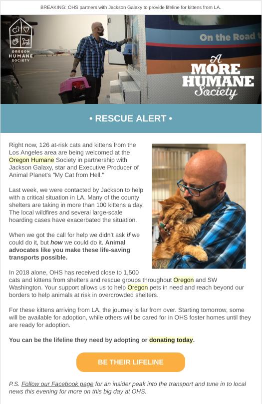 Oregon Humane Society email