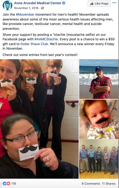 Participants in Anne Arundel Medical Center's Movember-themed Facebook Stachie Contest post pictures of themselves with real and fake mustaches.