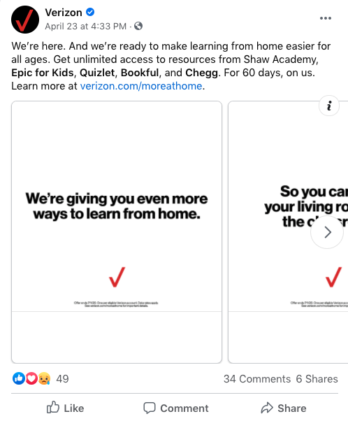 Verizon shows empathy in content marketing