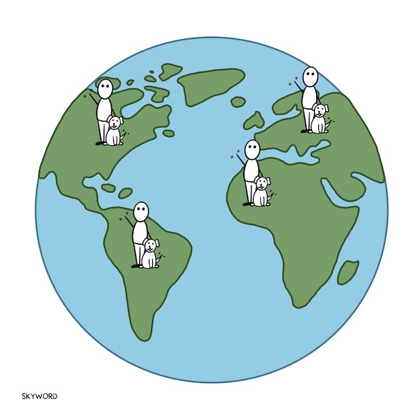 dog and owner in different continents around the globe