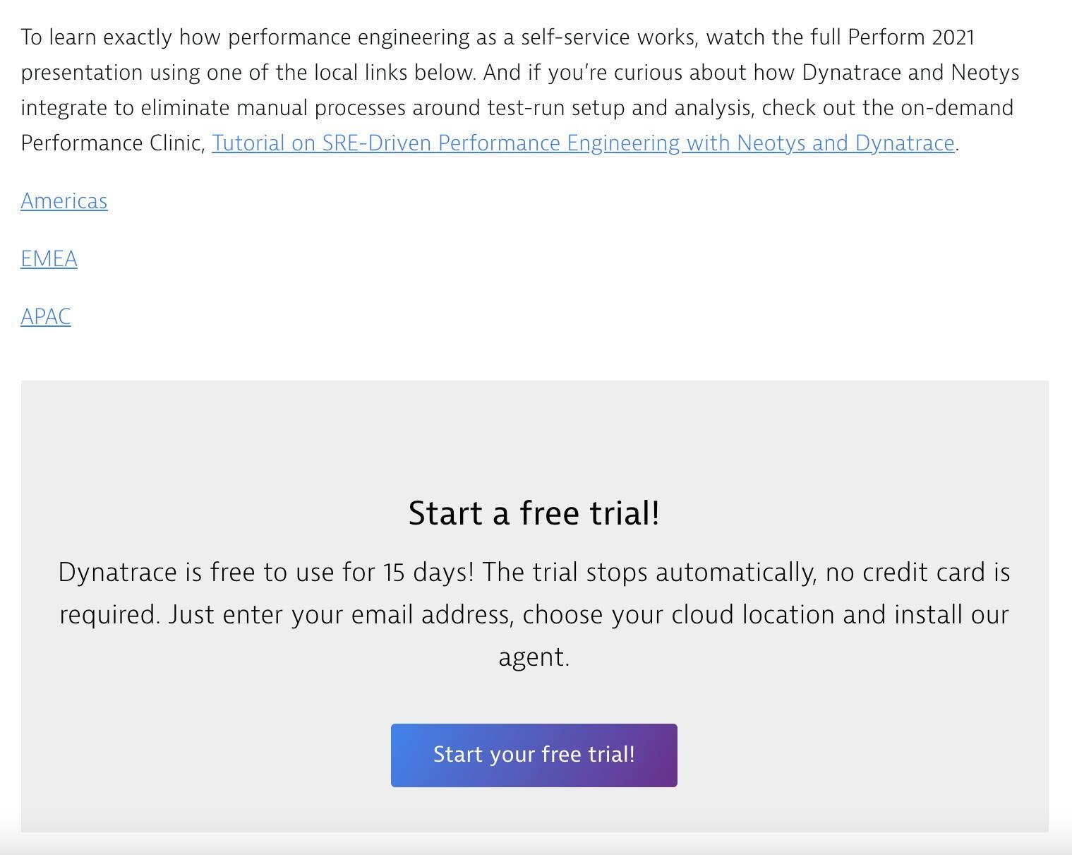 Screenshot of a Dynatrace article featuring a Demo Request CTA